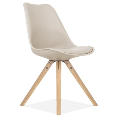 Beige Dining Chair with Pyramid Style Solid Oak Wood Legs