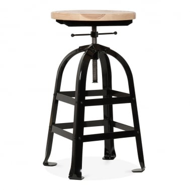 Vintage Industrial Swivel Stool - Black 45-65cm