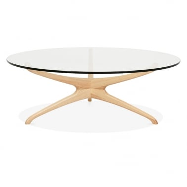 Alberg Glass Top Coffee Table - Natural