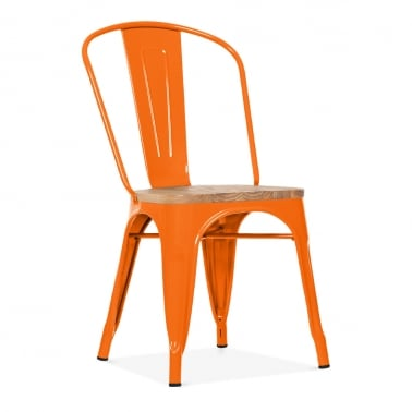 Tolix Style Metal Side Chair with Natural Wood Seat - Orange