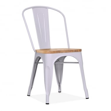 Tolix Style Metal Side Chair with Natural Wood Seat - Pastel Purple