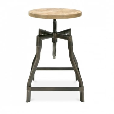 Machinist Swivel Stool - Rustic Gunmetal with Elm Wood Seat 45cm