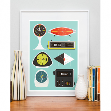 Clocks Retro Framed Print - Multi-coloured