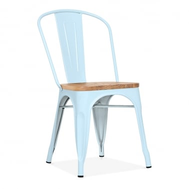 Tolix Style Metal Side Chair with Natural Wood Seat - Pastel Blue