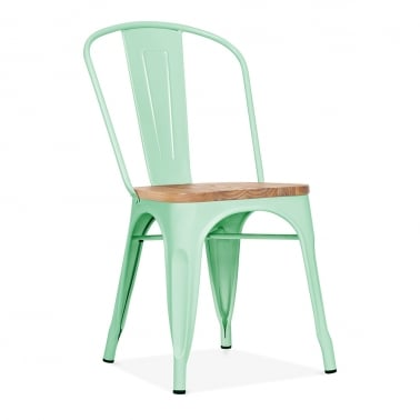 Tolix Style Metal Side Chair with Natural Wood Seat - Peppermint