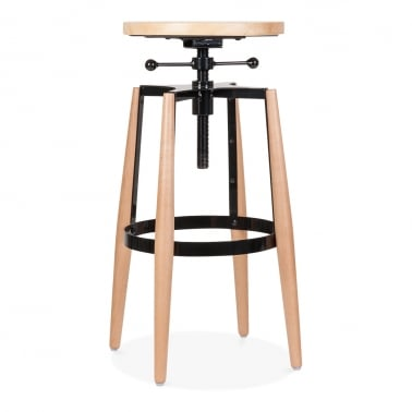 Peckham Adjustable Metal and Wood Swivel Stool - Black