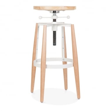 Peckham Adjustable Metal and Wood Swivel Stool - White