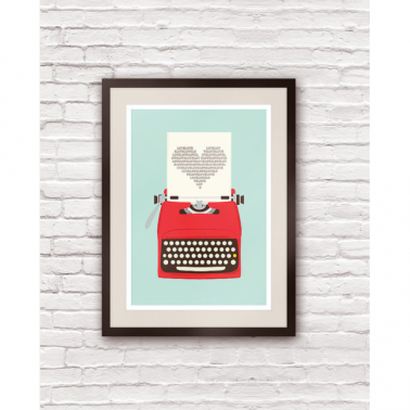 Love Typewriter Retro Print - Multi-coloured