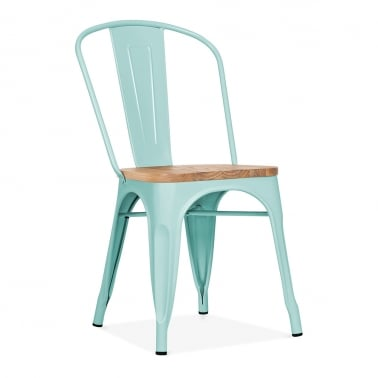 Tolix Style Metal Side Chair with Natural Wood Seat - Duck Egg