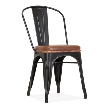 Tolix Style Metal Side Chair - Matte Black / Brown Cushion
