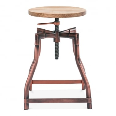 Industrial Swivel Adjustable Stool - Copper 45cm