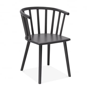 Busket W. Style Wooden Dining Armchair - Dark Grey