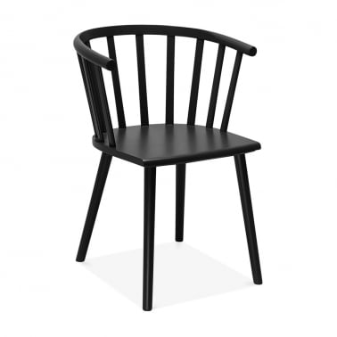 Busket W. Style Wooden Dining Armchair - Black