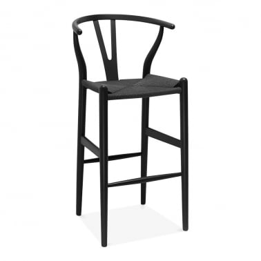Wishbone Wooden Bar Stool with Backrest - Black / Black 75cm