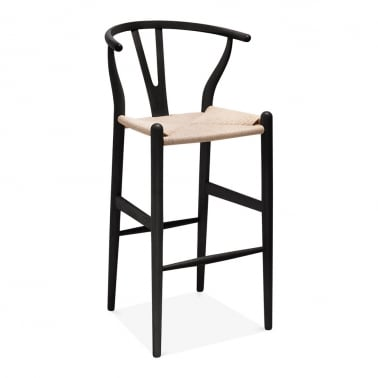Wishbone Wooden Bar Stool with Backrest - Black / Natural 75cm