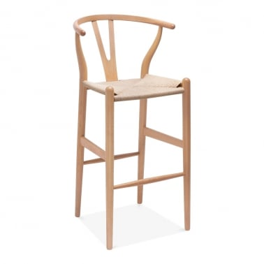 Wishbone Wooden Bar Stool with Backrest - Natural / Natural 75cm