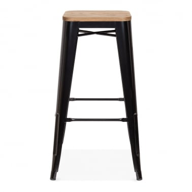 Tolix Style Stool With Wood Seat option - Black 75cm
