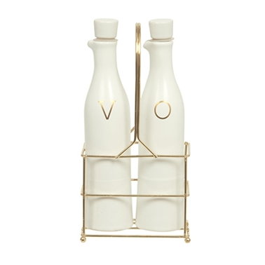 Ceramic Oil & Vinegar Bottle Set - White