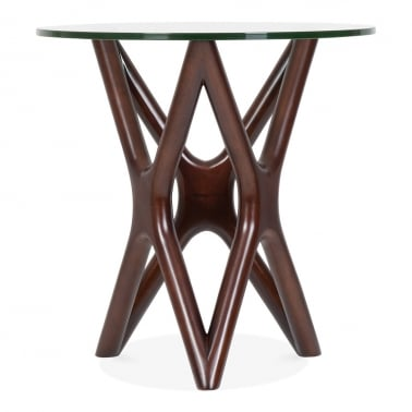 Star Glass Top Side Table - Walnut 56cm