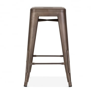 Tolix Style Metal Stool - Rustic 65cm