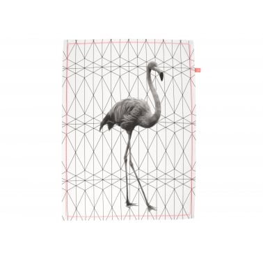Hexagon Flamingo Tea Towel - Pink
