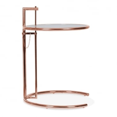 Eileen Gray Style Side Table - Copper / Tinted Glass