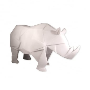 Geometric LED Rhino Lamp - White