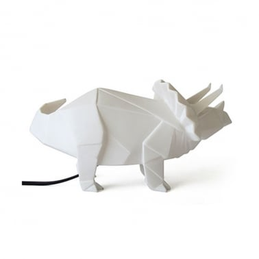 Geometric LED Triceratops Lamp - White