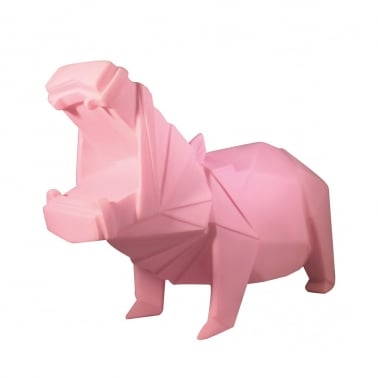 Geometric LED Hippo Lamp - Pink