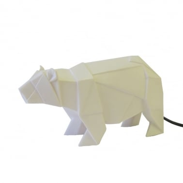 Geometric LED Polar Bear Lamp - White