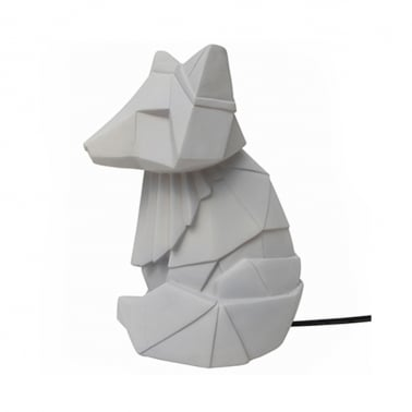 Geometric LED Fox Lamp - Grey