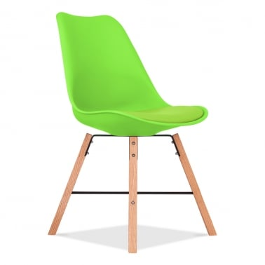 Soft Pad Dining Chair With Cross Brace Legs - Lime Green