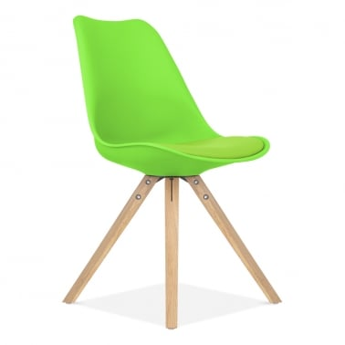 Lime Green Dining Chair with Pyramid Style Solid Oak Wood Legs