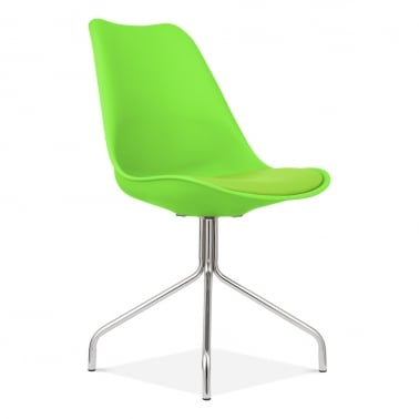 Lime Green Dining Chairs With Cross Metal Legs