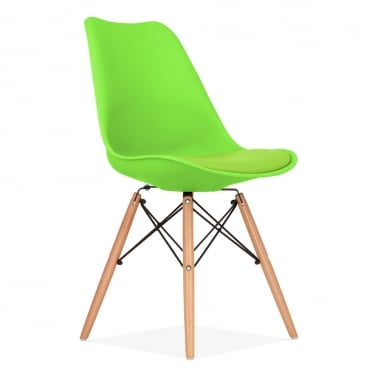 Lime Green Dining Chair with DSW Style Natural Wood Legs