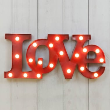 Metal L.E.D. Light Up Love Sign - Red
