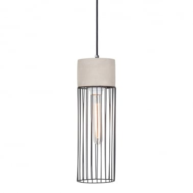 Greyson Concrete and Cage Pendant Light - Cylinder