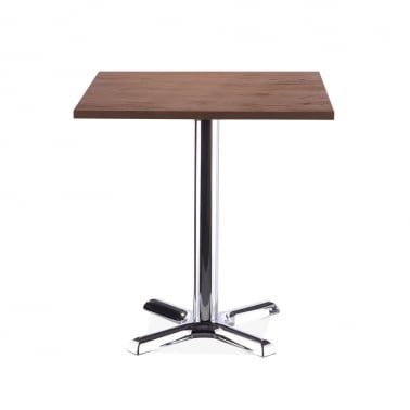 Galant Square Cafe Table - Chrome / Walnut Finish 70cm