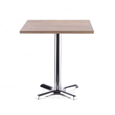 Galant Square Cafe Table - Chrome / Natural Finish 70cm