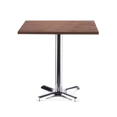 Galant Square Cafe Table - Chrome / Walnut Finish 80cm