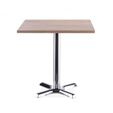 Galant Square Cafe Table - Chrome / Natural Finish 80cm