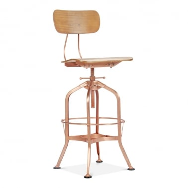 Toledo Style Swivel Bar Stool with Backrest, Copper Finish 64-74cm