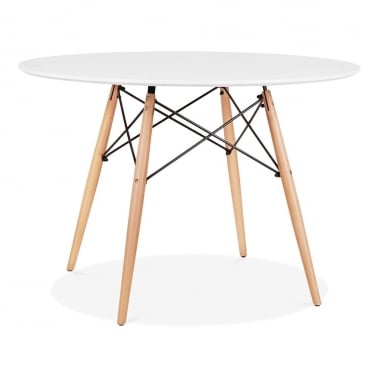 DSW Round Dining Table with Leg Option - White 110cm