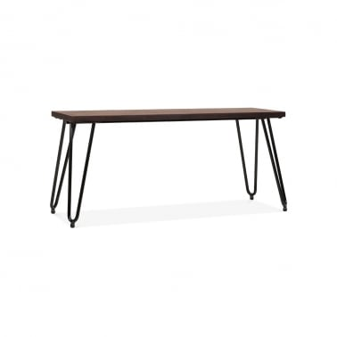 Hairpin Metal Bench with Solid Wood Seat - Black 100cm