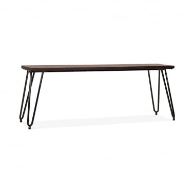 Hairpin Metal Bench with Solid Wood Seat - Black 120cm