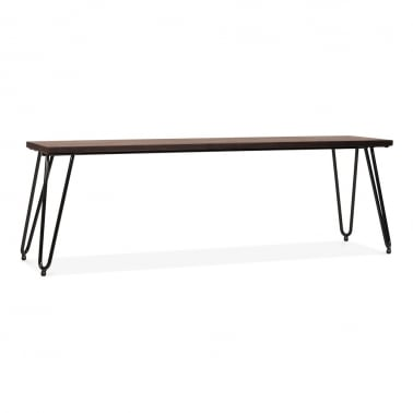 Hairpin Metal Bench with Solid Wood Seat - Black 140cm