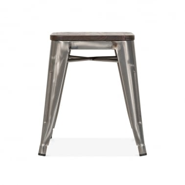 Tolix Style Metal Stool with Brown Wood Seat - Gunmetal 45cm