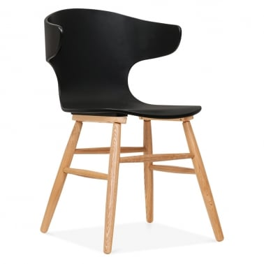 Elin Curved Back Dining Chair - Black