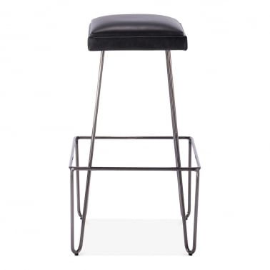 Ruche Stool with Cushion Seat - Gunmetal / Black 76cm