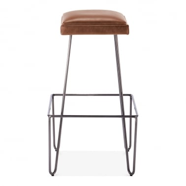 Ruche Stool with Cushion Seat - Gunmetal / Brown 76cm